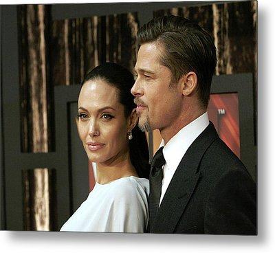 Angelina Jolie, Brad Pitt At Arrivals Metal Print by Everett