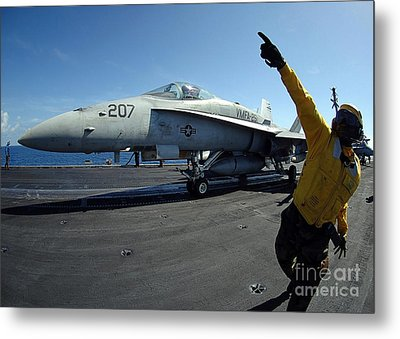 Aviation Boatswains Mate Directs Metal Print by Stocktrek Images