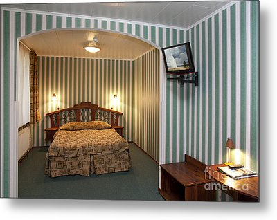 Bed In Hotel Room Metal Print by Jaak Nilson