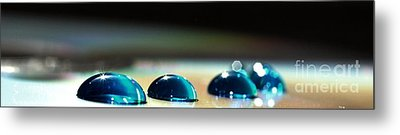 Metal Print featuring the photograph Blue Drops by Sylvie Leandre