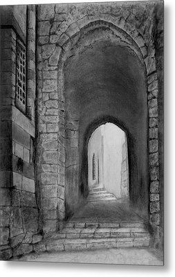 Jerusalem Old Street Metal Print by Marwan Hasna - Art Beat