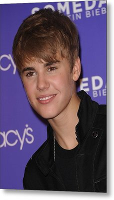 Justin Bieber At In-store Appearance Metal Print by Everett