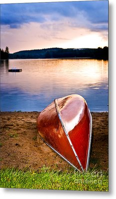 Lake Sunset With Canoe On Beach Metal Print by Elena Elisseeva