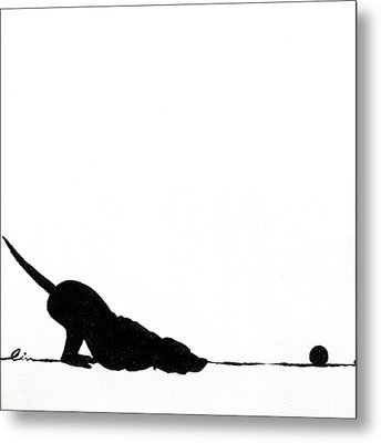 Little Dogs Doing Tricks On Little Canvas Metal Print by Cindy D Chinn