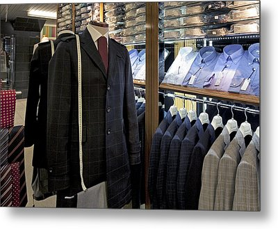 Menswear On Display At A Clothes Shop Metal Print by Jaak Nilson