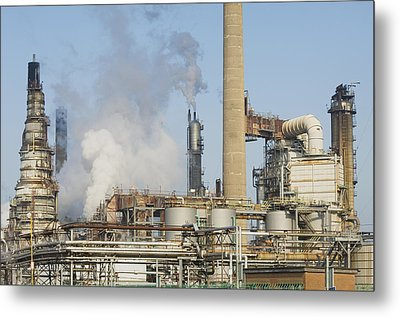 Oil Refinery Buildings At Grangemouth Metal Print by Iain  Sarjeant