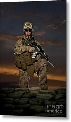 Portrait Of A U.s. Marine In Uniform Metal Print by Terry Moore