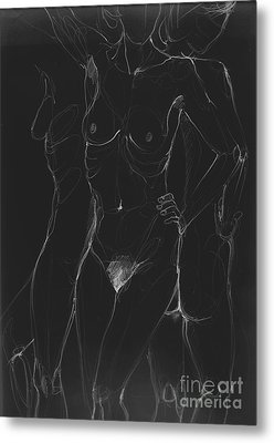 3 Sides Of A Woman In Night Metal Print by Roswitha Schmuecker