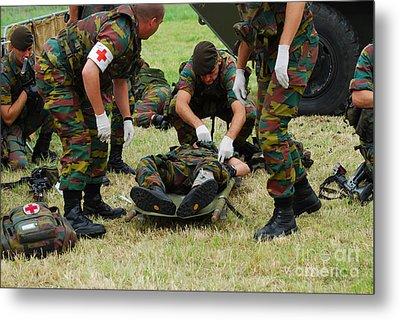 Soldiers Of A Belgian Infantry Unit Metal Print by Luc De Jaeger