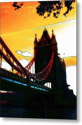 Sunset At Tower Brigde Metal Print by Steve K