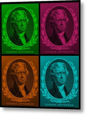 Thomas Jefferson In Quad Colors Metal Print by Rob Hans
