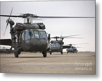 Uh-60 Black Hawks Taxis Metal Print by Terry Moore