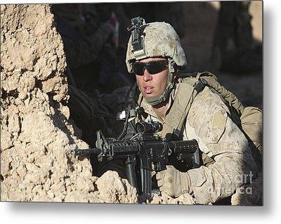 U.s. Marine Provides Security Metal Print by Stocktrek Images