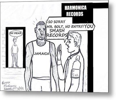 Usain Bolt V Security Guard Metal Print by Mudiama Kammoh