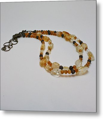 3514 Citrine Double Strand Necklace Metal Print by Teresa Mucha
