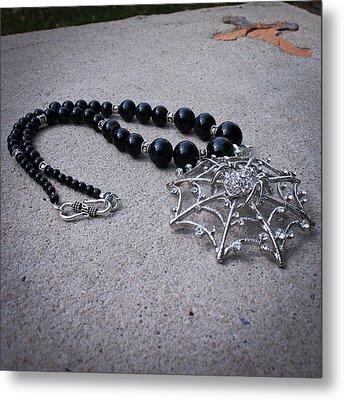 3596 Spiderweb Rhinestone Pendant Necklace Metal Print