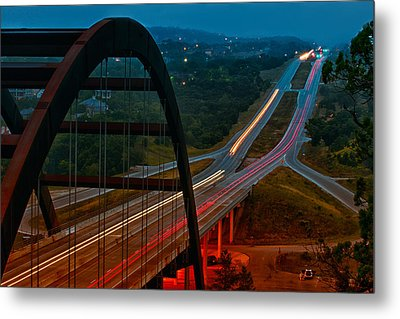 360 Bridge Morning Traffic Metal Print by Lisa  Spencer