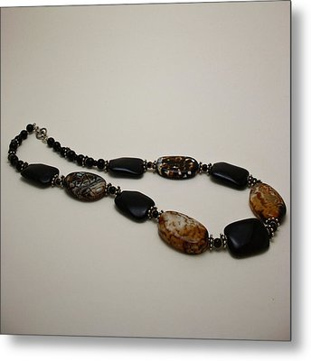 3617 Crackle Agate And Onyx Necklace Metal Print by Teresa Mucha