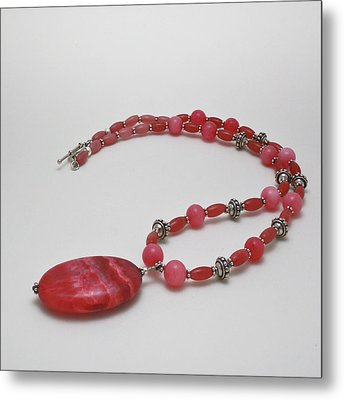 3619 Rhodonite And Bali Sterling Silver Necklace Metal Print