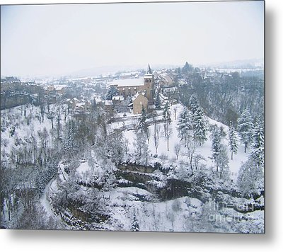 Bozouls Winter Metal Print by Sylvie Leandre