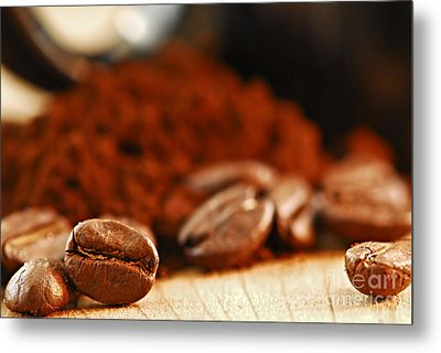 Coffee Beans And Ground Coffee Metal Print by Elena Elisseeva