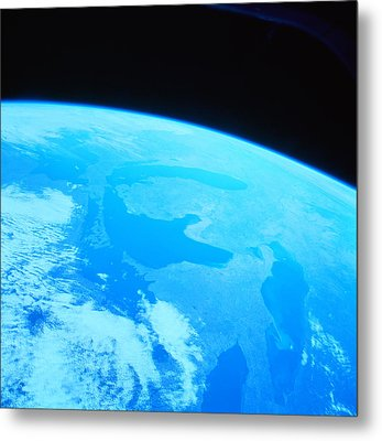 Earth Viewed From A Satellite Metal Print by Stockbyte