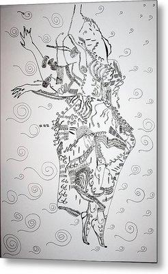 Metal Print featuring the drawing Kiganda Dance - Uganda by Gloria Ssali