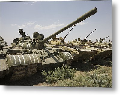 Russian T-54 And T-55 Main Battle Tanks Metal Print by Terry Moore