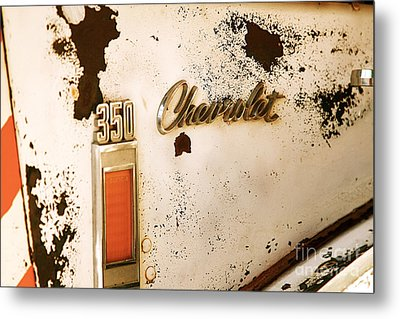 Rusted Antique Chevrolet Car Brand Ornament Metal Print by ELITE IMAGE photography By Chad McDermott