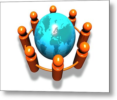 Social Networking, Conceptual Image Metal Print by Victor Habbick Visions