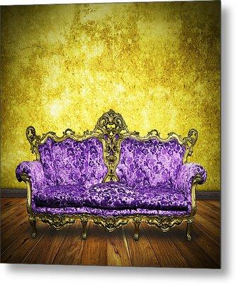 Victorian Sofa In Retro Room Metal Print
