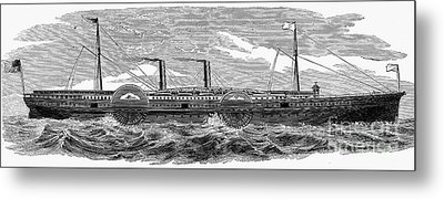4 Wheel Steamship, 1867 Metal Print by Granger