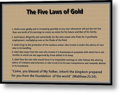 5 Laws Of Gold Metal Print by Ricky Jarnagin