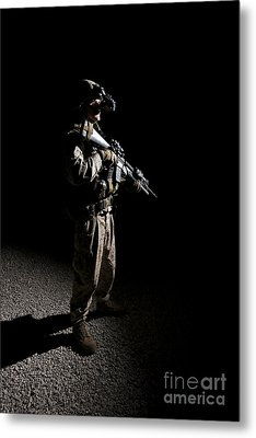 Partially Silhouetted U.s. Marine Metal Print by Terry Moore