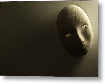 Plaster Mask In Studio Metal Print by Kantapong Phatichowwat