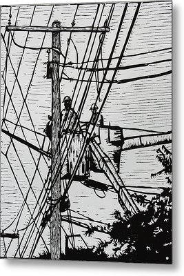 Working On Lines Metal Print