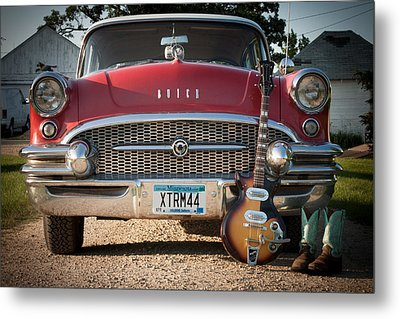 55 Buick Special With 1957 Magnatone Mark V Guitar Metal Print by Toni Thomas