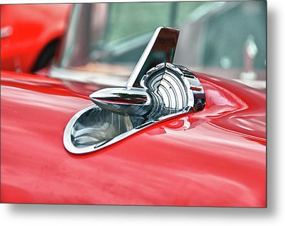 57 Chevy Hood Ornament 8509 Metal Print by Guy Whiteley