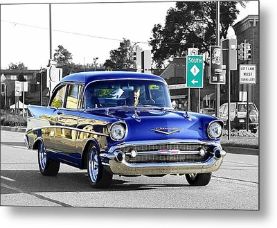 57 Chevy Selective Color Metal Print
