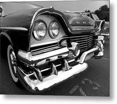58 Plymouth Fury Black And White Metal Print