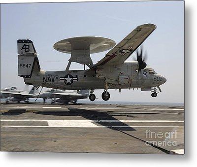 An E-2c Hawkeye Lands Aboard Metal Print by Stocktrek Images