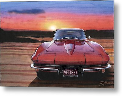 Metal Print featuring the painting '67 Corvette Sunset by Rod Seel