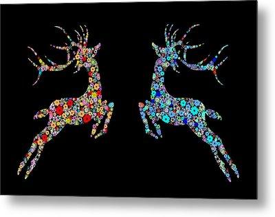 Reindeer Design By Snowflakes Metal Print by Setsiri Silapasuwanchai