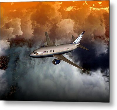 Metal Print featuring the digital art 737 Ua 20x16 01 by Mike Ray