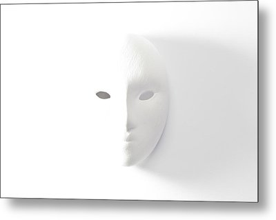 Plaster Mask In Studio Metal Print by Kantapong Phatichowwat