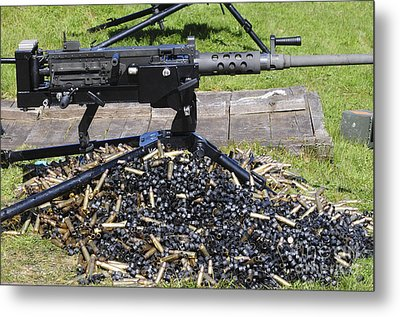 A .50 Caliber Browning Machine Gun Metal Print by Andrew Chittock