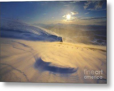 A Blizzard On Toviktinden Mountain Metal Print by Arild Heitmann