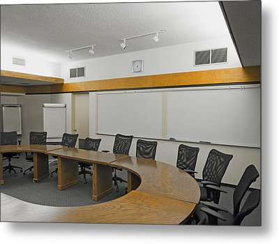 A Boardroom With An Oval Table Metal Print by Marlene Ford