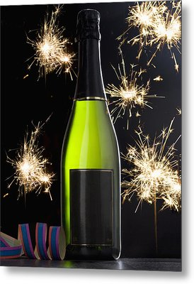A Bottle Of Champagne And Sparklers Metal Print