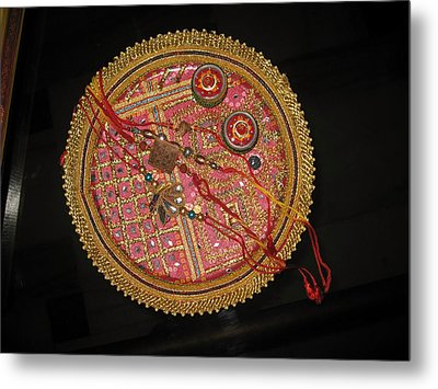 A Bowl Of Rakhis In A Decorated Dish Metal Print by Ashish Agarwal